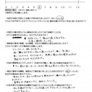 横浜泉区から腰痛 過敏性腸症候群 心の不調でお越しのKさんのアンケート