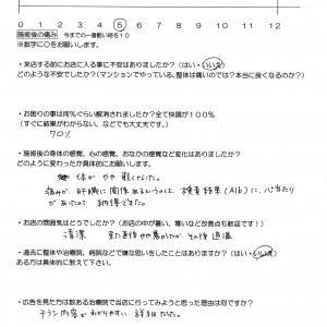 横浜市泉区から腰痛でお越しのKさんのアンケートです。